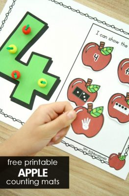 Free Printable Counting Numbers Apple Math Mats for PreK and Kindergarten #preschool #kindergarten #math #freeprintable #freebie #appletheme