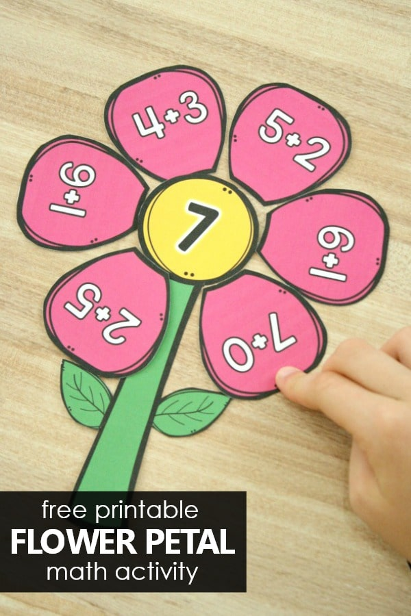 Free Printable Flower Math Activity. Spring Flower Addition Activity for Preschool and Kindergarten #preschool #kindergarten #addition #math #spring