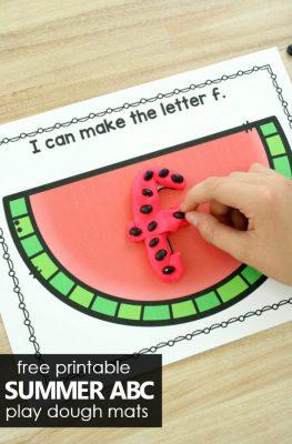 Free Printable Summer ABC Play Dough Mats. Watermelon Theme Alphabet Activities for Summer. #preschool #kindergarten #alphabet #freeprintable #freebie