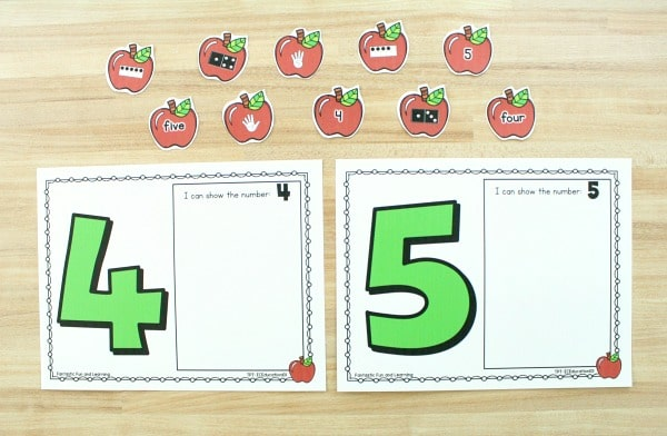 Free printable apple counting mats for prek and k