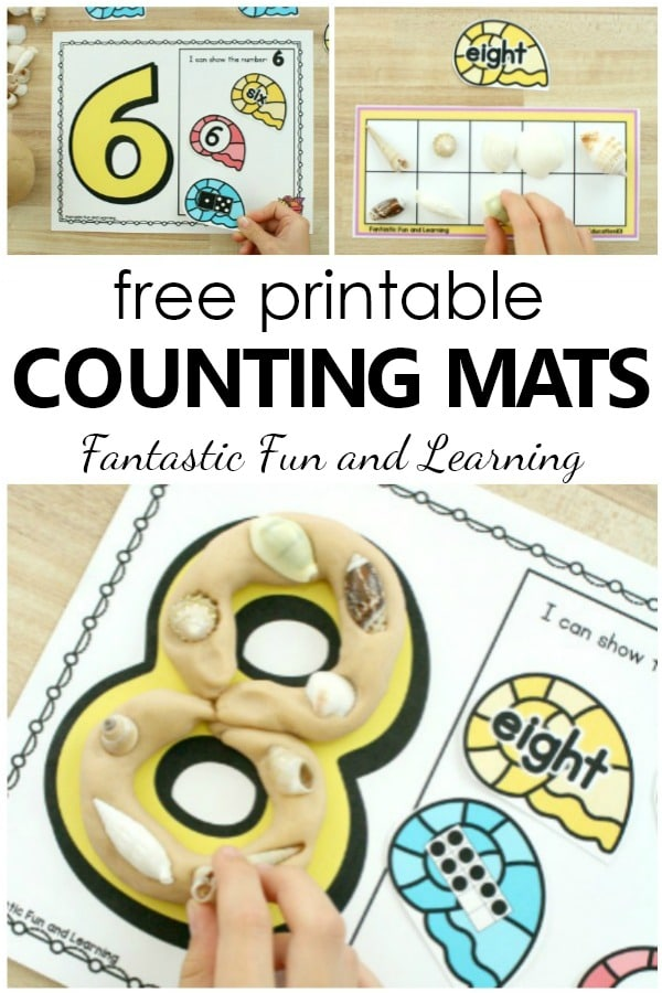 Free printable beach theme counting numbers math mats for loose parts play in preschool and kindergarten #math #preschoolthemes #prek #playdough #playdoh