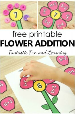 Spring Math for Preschool and Kindergarten. Free printable flower addition activity for math centers and spring theme activities #preschool #math #free