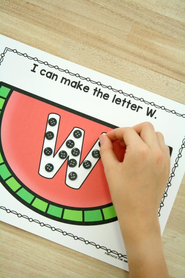 Watermelon Theme ABC Activity Mats. Free printable summer alphabet activities. #preschool #prek #watermelon #freeprintable #freebie