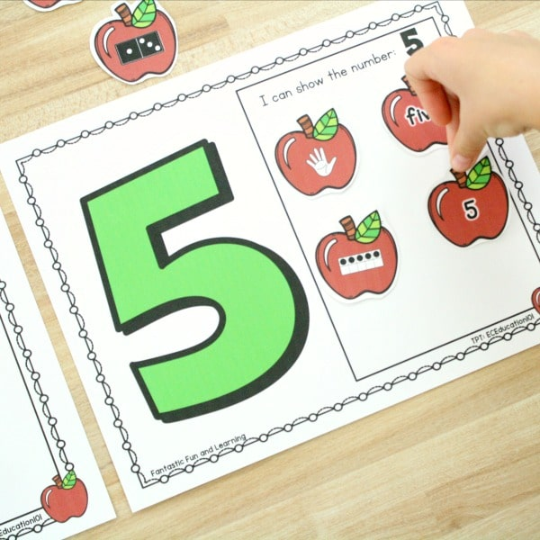 Ways to Represent Numbers-Preschool Math Activity for Apple Theme