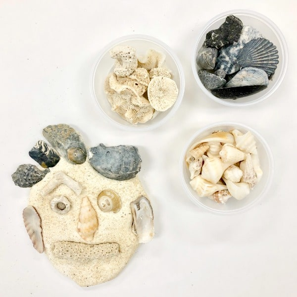 Seashell Self-Portrait Art Project Materials and Example