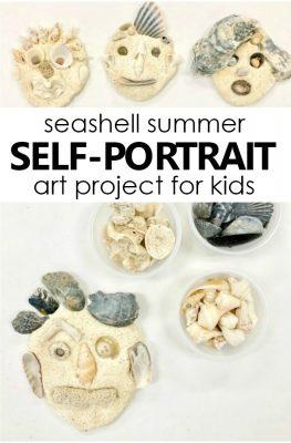 Seashell Self-Portrait Art Project for Kids. Summer process art activity for preschool and kindergarten. #preschool #processart #kindergarten #selfportrait