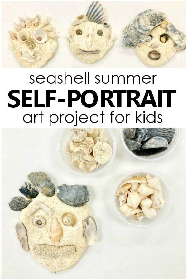 Seashell Self-Portrait Art Project for Kids. Summer process art activity for preschool and kindergarten. #preschool #processart #kindergarten #selfportrait