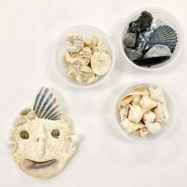 Shell Portrait Art for Kids Summer Loose Parts Play
