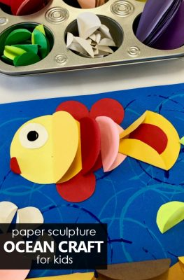 Paper Sculpture Relief Ocean Craft for Kids-Use everyday materials to create these unique kids' art projects #kidart #artprojects #oceancraft #summer #kids #preschool #kindergarten #elementary