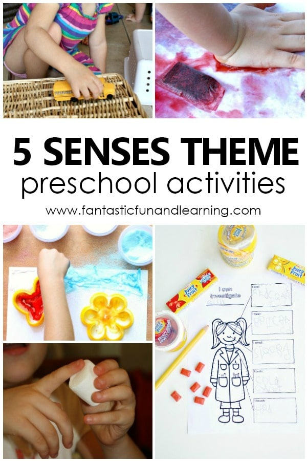 Five Sense Theme Preschool Activities-Fun activities and lesson plans for your preschool 5 senses theme #preschool #prek #fivesenses #5senses #preschoolthemes