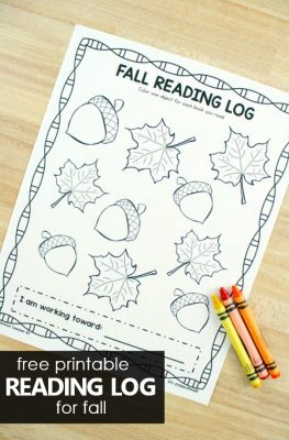 Free Printable Reading Log for Fall #preschool #kindergarten #earlylearning #literacy