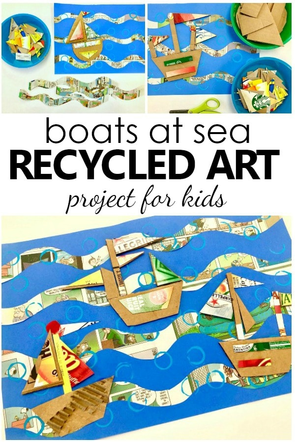 Recycled art for kids. Boats at sea summer art project and boat craft for kids #kidart #artproject #kidscrafts
