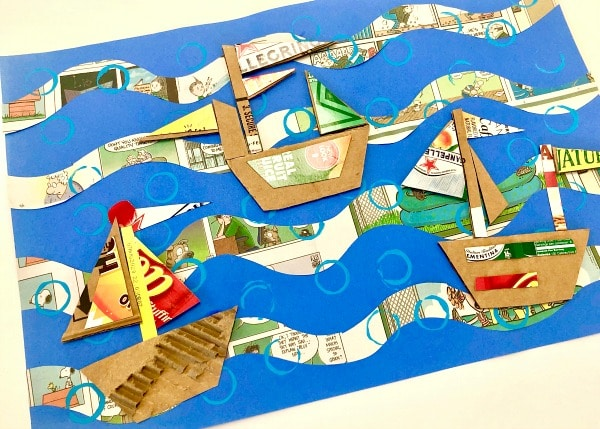 Recyled art for kids-Cardboard boat art project