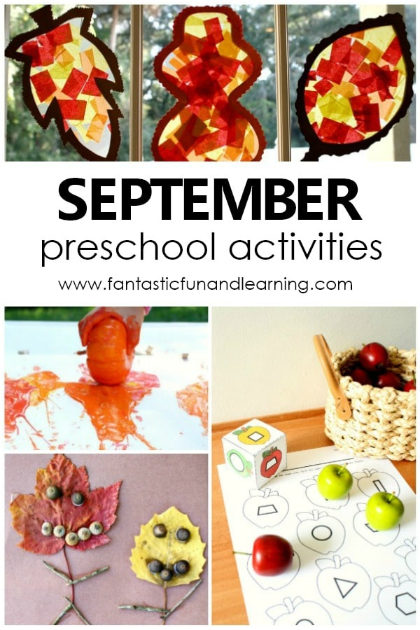 September Preschool Activities. Fun things to do with preschoolers in autumn. Fall theme preschool activities #preschool #kidsactivities #activitycalendar