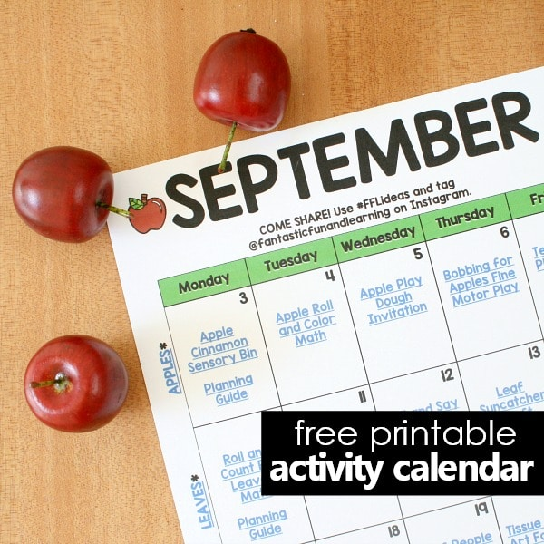 Free Printable September Activity Calendar for Preschool