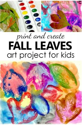 Watercolor art projects with autumn leaves. Fun fall art project for kids