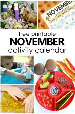 Free Printable November Activity Calendar with Fun Things to Do with Kids. Playful learning activities for preschoolers #preschool #kidsactivities #thanksgiving #freeprintable