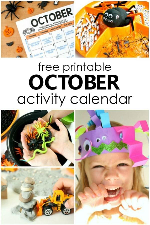 Free Printable October Kids Activity Calendar-Halloween activities for preschool