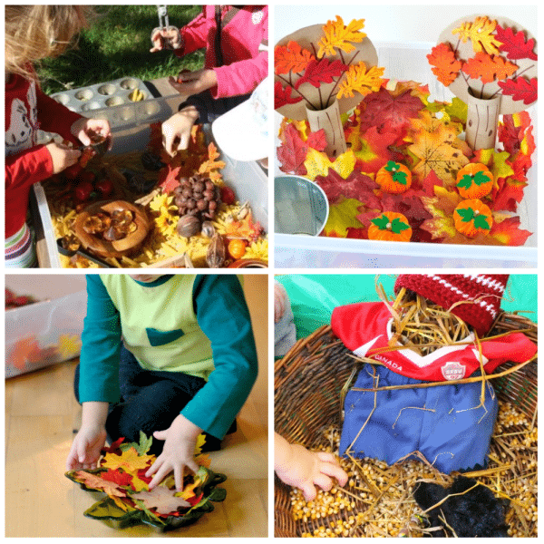 Autumn Pretend Play Sensory Bins