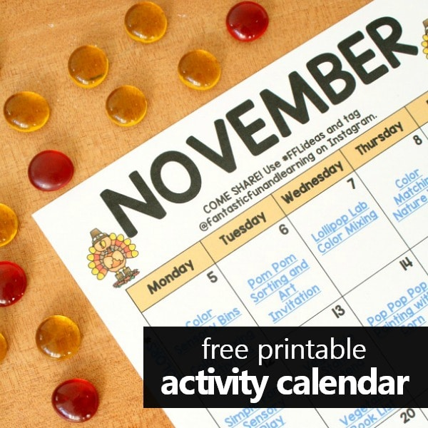 November Activity Calendar for Kids