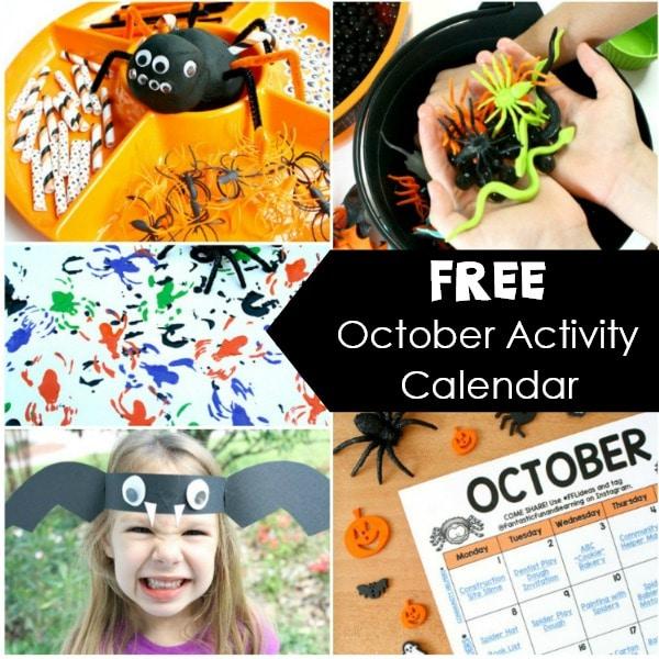 October Activity Calendar for Kids-Halloween Activities