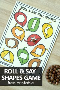 Roll and Say Fall 2D Shapes Game-Preschool and Kindergarten Math Activities