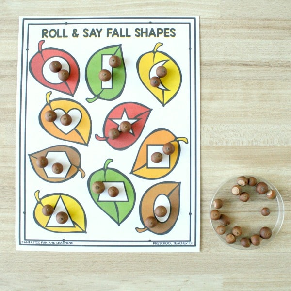 Roll and Say Fall Shapes Math Game