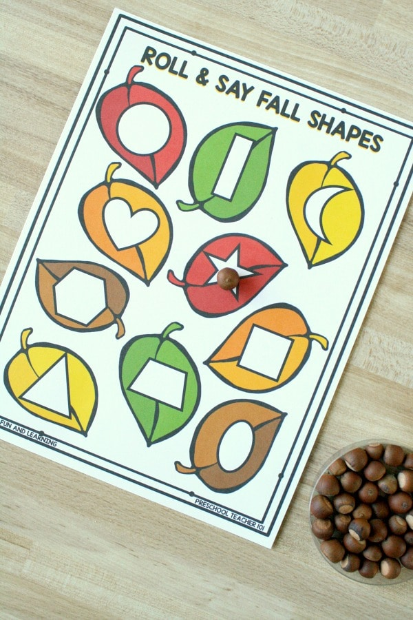 Roll and Say Fall Shapes Game