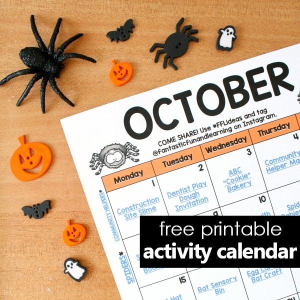 Halloween Activity Calendar for Preschool