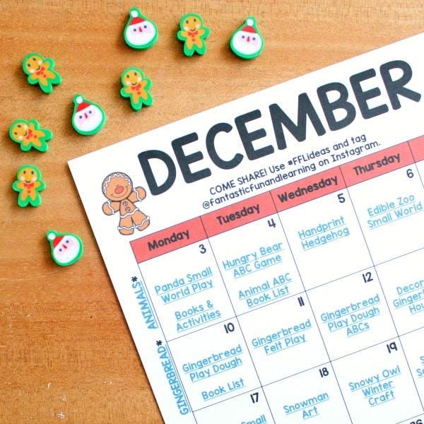 December Activity Calendar for Preschoolers