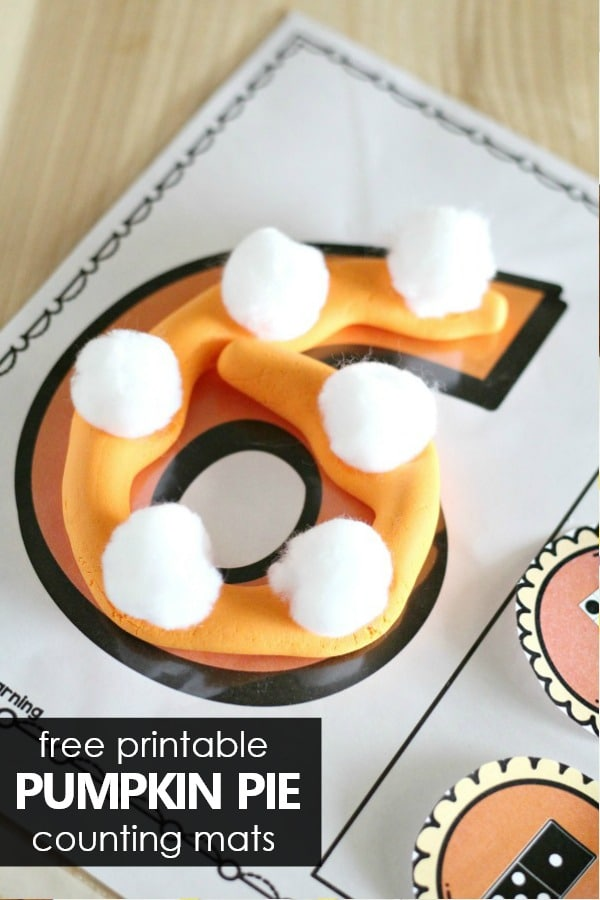 Fall Counting Activity for Preschool and Kindergarten. Thanksgiving pumpkin pie math.
