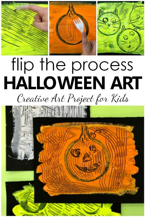 Flip the Painting Process Halloween Art Project for Kids