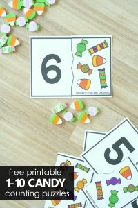 Free Printable Candy Counting Puzzles for Preschool and Kindergarten