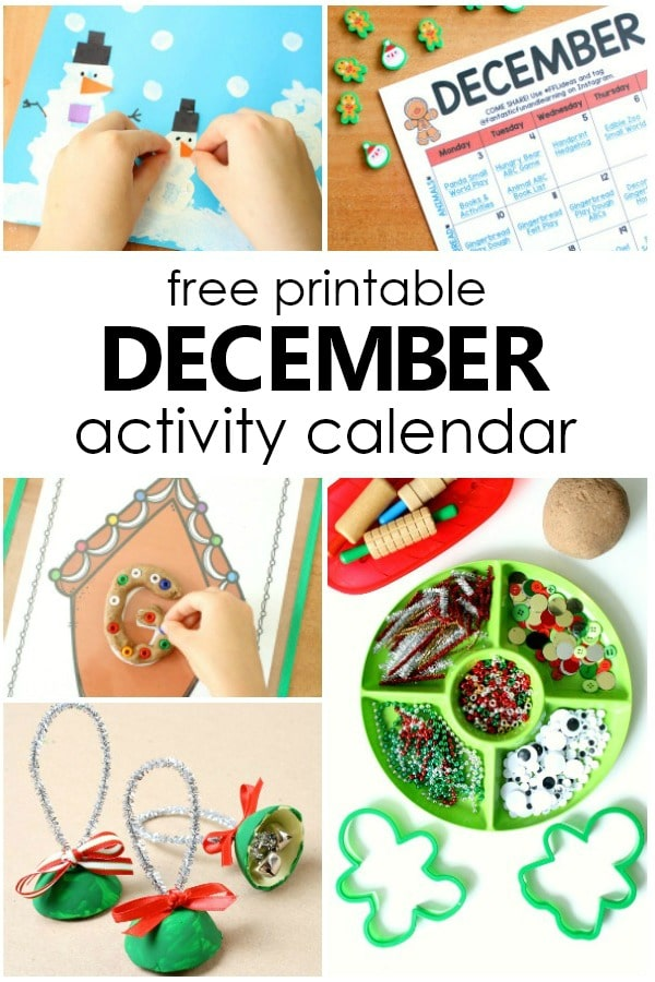 Free Printable December Activity Calendar with December Activities to Do with Kids