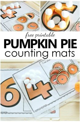 Free Printable Pumpkin Pie Counting Mats-Thanksgiving math activity for preschool and kindergarten