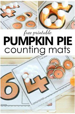Free Printable Pumpkin Pie Counting Mats-Thanksgiving math activity for preschool and kindergarten
