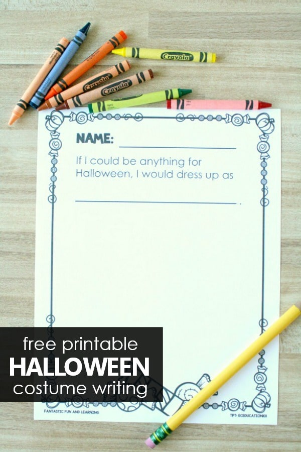 Free printable Halloween costume writing activity for preschool and kindergarten