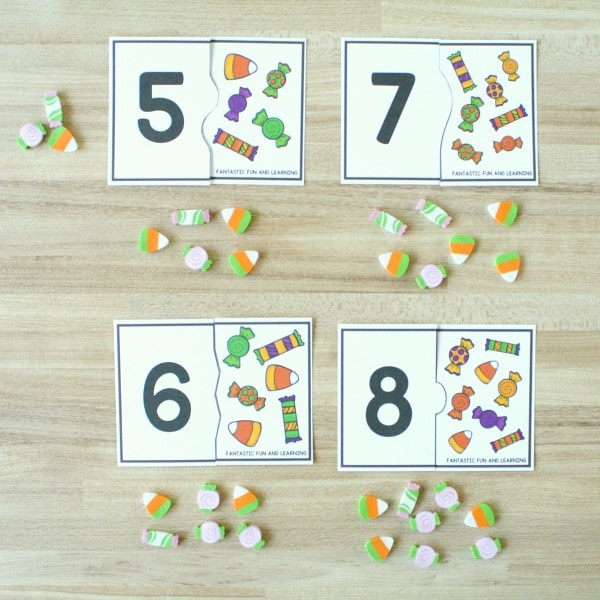 Halloween Counting Activity-Number Puzzles