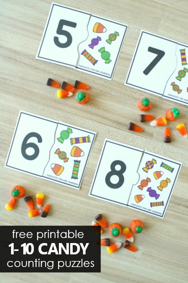 Number Puzzles-Counting Activity for PreK and K. Halloween Math Freebie.