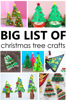 BIG List of Christmas Tree Crafts for Kids. 44 creative Christmas tree arts and crafts projects.