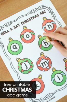 Christmas ABC Game Freebie for Preschool and Kindergarten Christmas Theme Activities