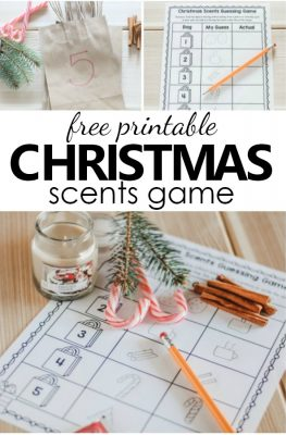 Free printable Christmas scents guessing game. Christmas theme science activities for preschool and kindergarten