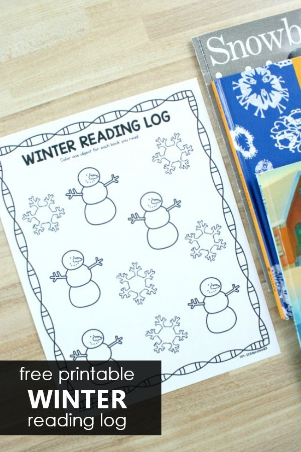 Winter Reading Log for Preschool and Kindergarten. Free printable sample. Also includes full series of seasonal and nonseasonal reading logs for the whole year. #preschool #kindergarten #reading #readinglog