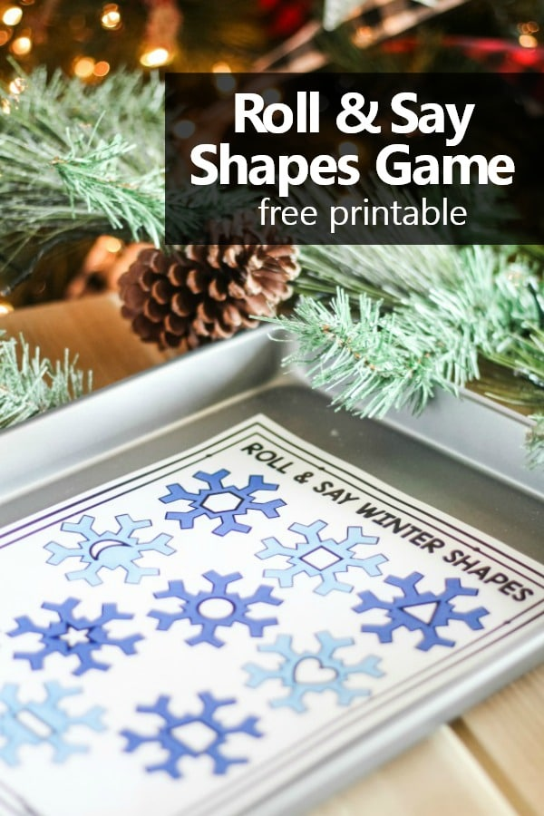 Roll and Say Winter 2D Shapes Game. Free printable winter shapes game for preschool and kindergarten