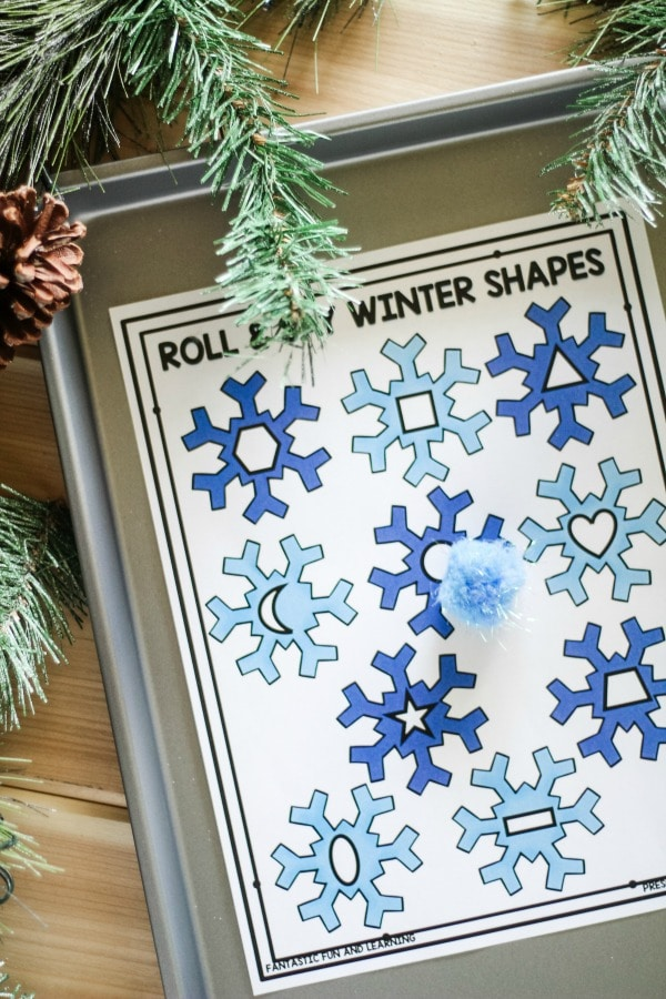 Roll and Say Winter 2D Shapes Game for Kindergarten