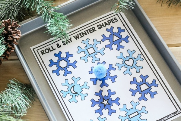 Roll and Say Winter Shape Game for Prekindergarten
