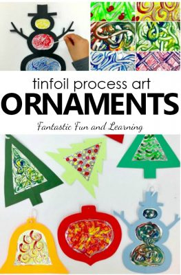 Kids will love exploring a new painting technique as they create tinfoil process art Christmas ornaments in this fun Christmas art project for kids.