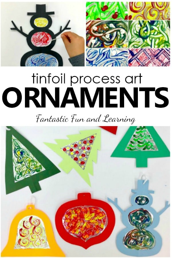 Tinfoil Process Art Christmas Ornaments. Christmas art project for kids.