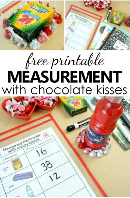Use nonstandard measurement in this free printable Measuring Perimeter Valentine Math activity to add some hands-on math to your Valentine's Day theme in preschool and kindergarten.