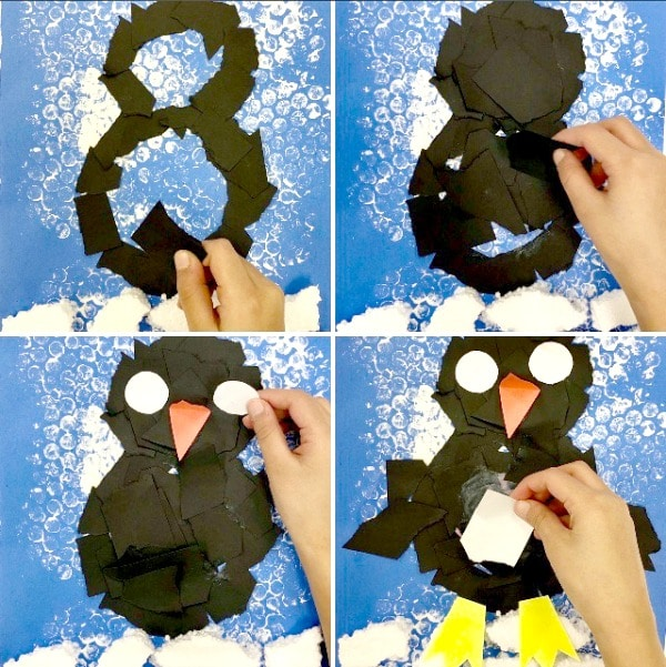 Torn Paper Penguin Craft